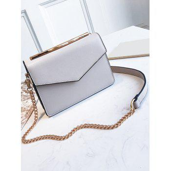 PU Leather Chic Flap Metal Bar Sling Bag - GRAY