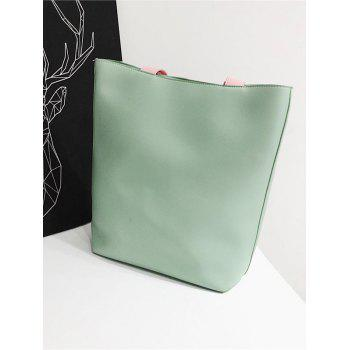 Flamingo Pattern Color Block Leisure Shoulder Bag - GREEN