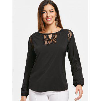 Long Sleeve Keyhole Neck Plain T-shirt - BLACK M