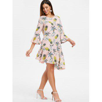 Pineapple Print Flounce Mini Dress - PINK 2XL