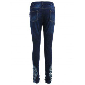 Flower Branch Embroidered Distressed Jeans - NAVY BLUE M