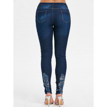 Flower Branch Embroidered Distressed Jeans - NAVY BLUE 2XL