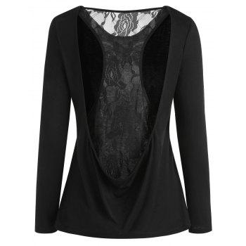Round Neck Racerback Lace Insert Top - BLACK 2XL