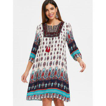 Ethnic Printed Straight Dress - WHITE L
