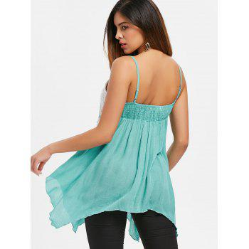 Lace Panel Asymmetrical Cami Strap Top - CYAN OPAQUE S