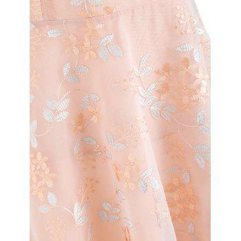 Criss Cross Embroidered A Line Dress - PINK S
