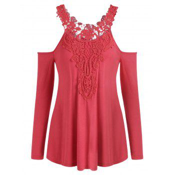 Cold Shoulder Lace Applique T-shirt - RED L