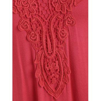 Cold Shoulder Lace Applique T-shirt - RED M