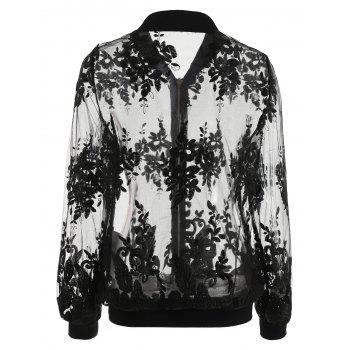 Floral Embroidered Mesh Bomber Jacket - BLACK M