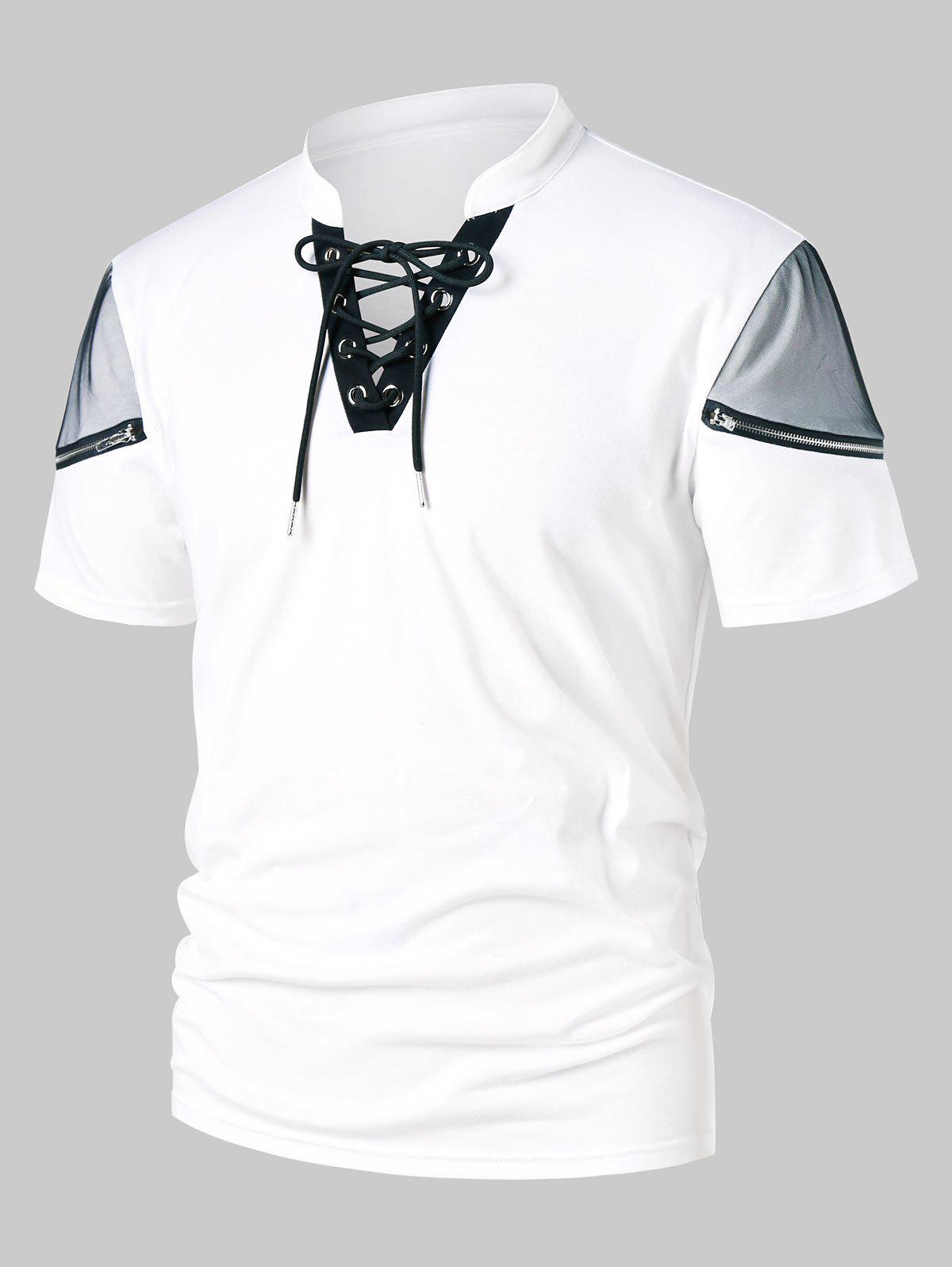 Lace Panel Zipper Stand Collar T-shirt, White