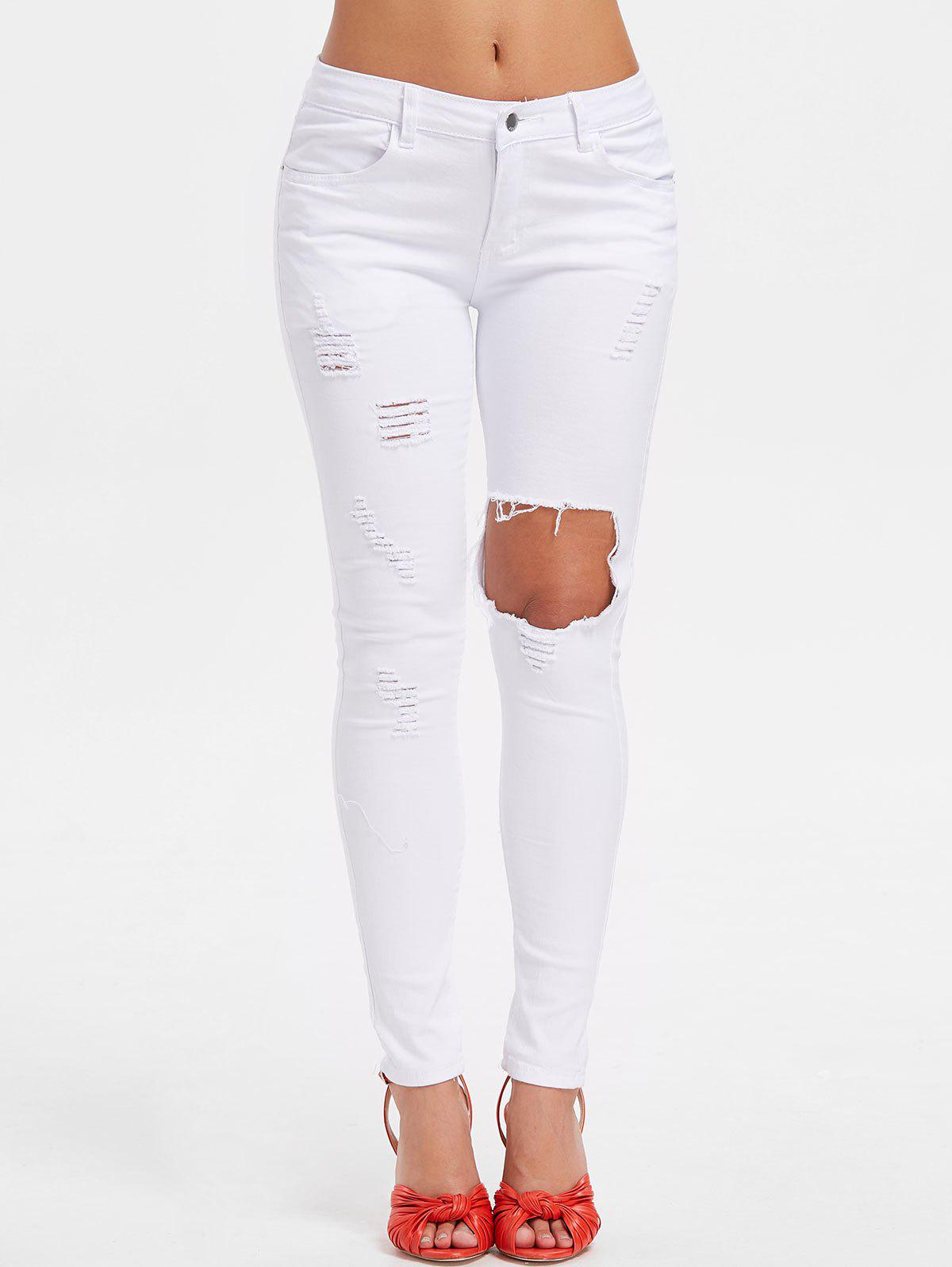 High Rise Ripped Pants - MILK WHITE 2XL