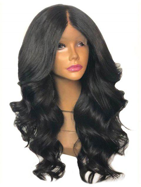 Center Parting Long Body Wave Synthetic Lace Front Wig - BLACK