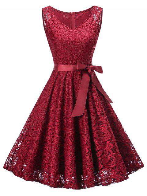 Vintage Lace Swing Party Dress - RED WINE M