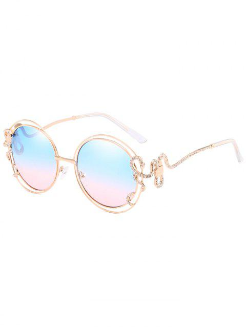 Rhinestone Inlaid Hollow Out Frame Oval Sunglasses - DEEP SKY BLUE