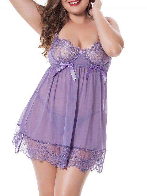 Plus Size Sheer Lace Racerback Babydoll - PURPLE 2X