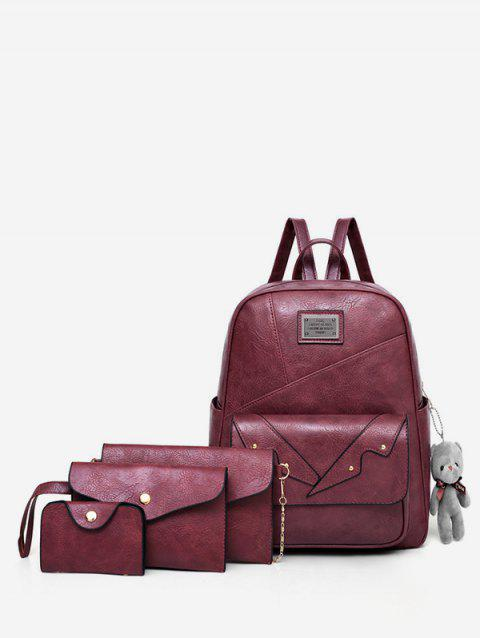 Minimalist All Purpose Outdoor Trip 4 Pieces Backpack Set - RED WINE