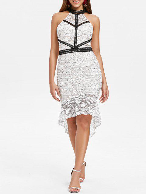 Cut Out Back High Low Lace Dress - WHITE 2XL