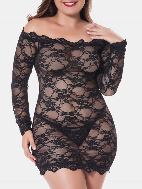 Plus Size Scalloped Sheer Lingerie Dress - BLACK 3X