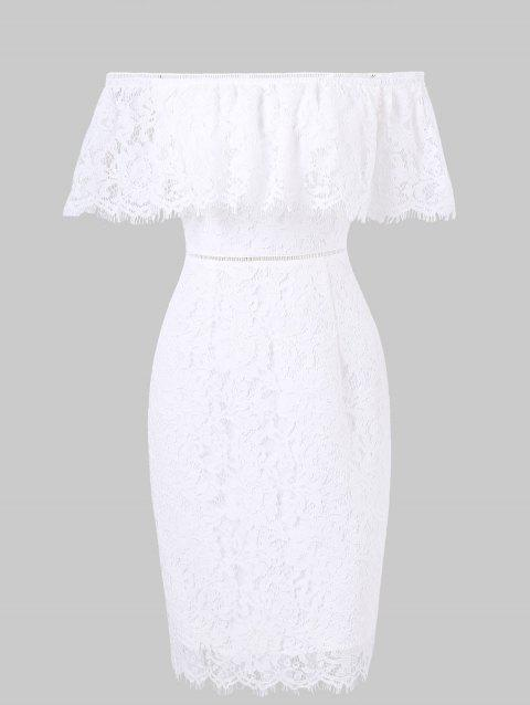 Flounce Shoulder Fitted Lace Dress - WHITE L