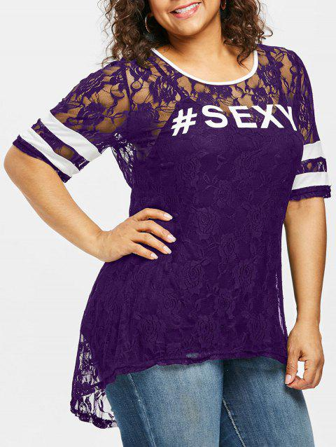 Plus Size Contrast Trim Floral Lace T-shirt - PURPLE IRIS 3X