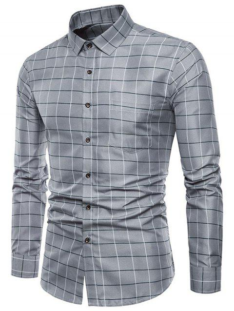 Plaid Print Pocket Long Sleeves Shirt - PLATINUM 2XL
