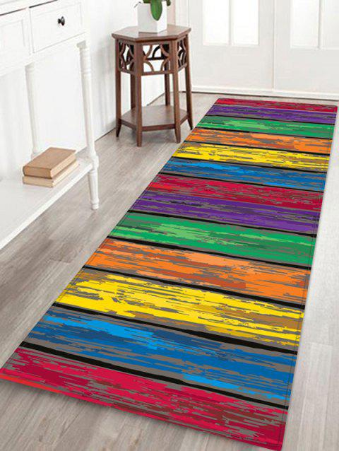 Colorful Wooden Board Print Flannel Skidproof Area Mat - multicolor W24 INCH * L71 INCH
