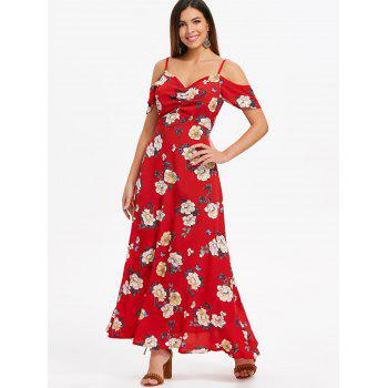 Print High Waisted Maxi Dress - LAVA RED S
