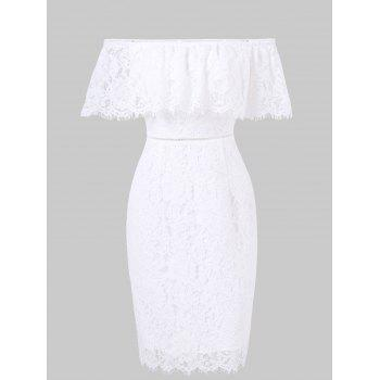 """<P>Flounce Shoulder Fitted Lace Dress</P><I Class=""""Icon Down Js Tap Up Down""""></I> by Dress Lily"""