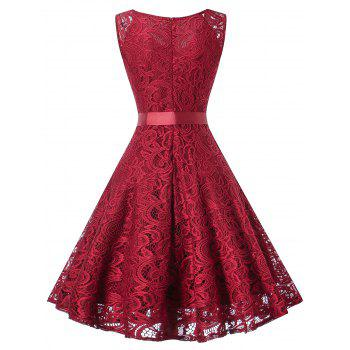 Vintage Lace Swing Party Dress - RED WINE L