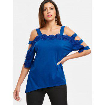 Asymmetrical Applique Ladder Cut Out T-shirt - BLUE S