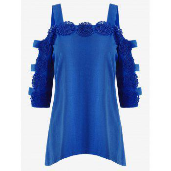 Asymmetrical Applique Ladder Cut Out T-shirt - BLUE M