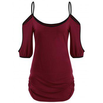 Scoop Neck Side Ruched T-shirt - RED WINE M