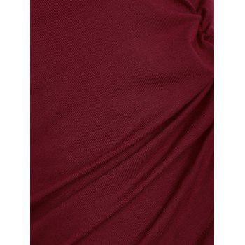 Scoop Neck Side Ruched T-shirt - RED WINE L