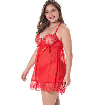Plus Size Sheer Lace Racerback Babydoll - RED 3X