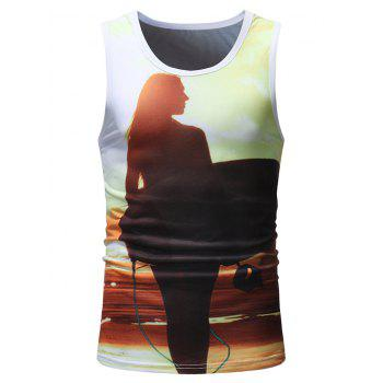 Letter Slim Girl Print Running Tank Top - multicolor 2XL