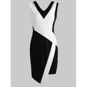 Two Tone Knee Length Sheath Dress - BLACK L