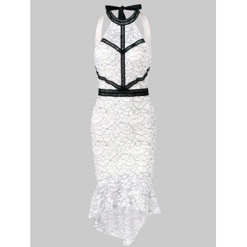 Cut Out Back High Low Lace Dress - WHITE M