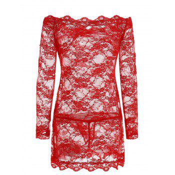 Plus Size Scalloped Sheer Lingerie Dress - RED 2X