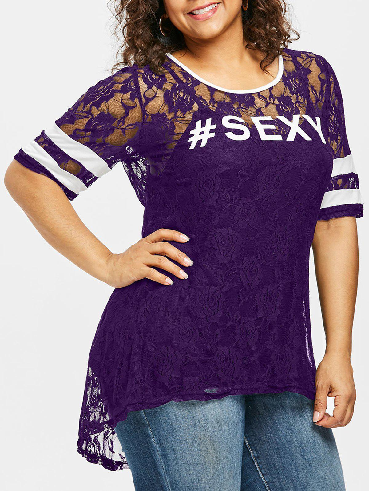 Plus Size Contrast Trim Floral Lace T-shirt - PURPLE IRIS 5X