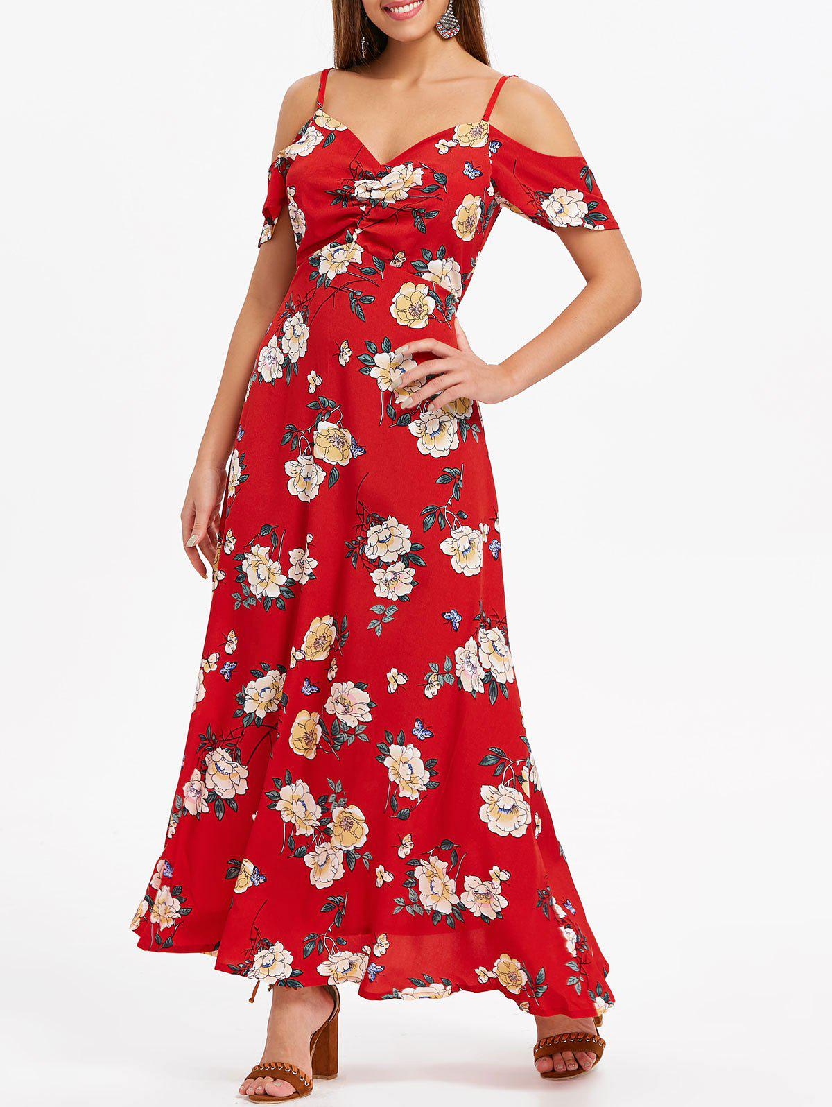 Print High Waisted Maxi Dress - LAVA RED 2XL
