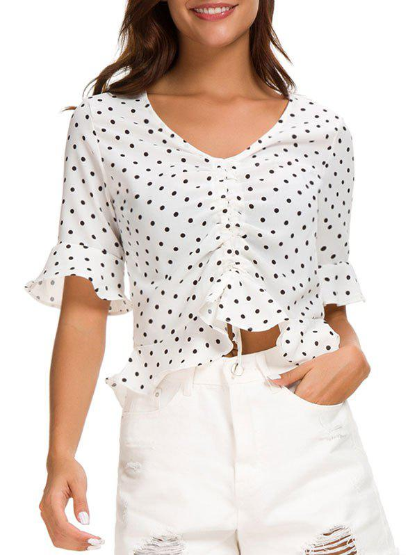 Polka Dot Print Ruffle Hemline Crop Top - WHITE S