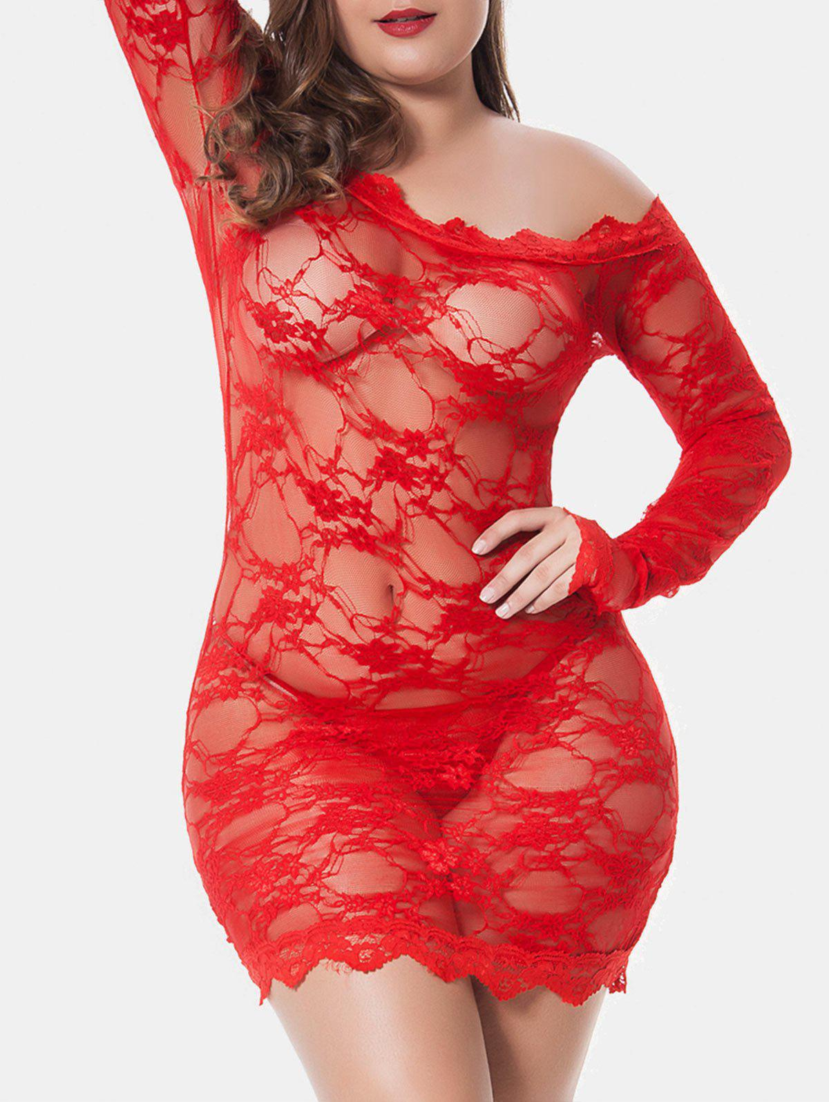 Plus Size Scalloped Sheer Lingerie Dress - RED 5X