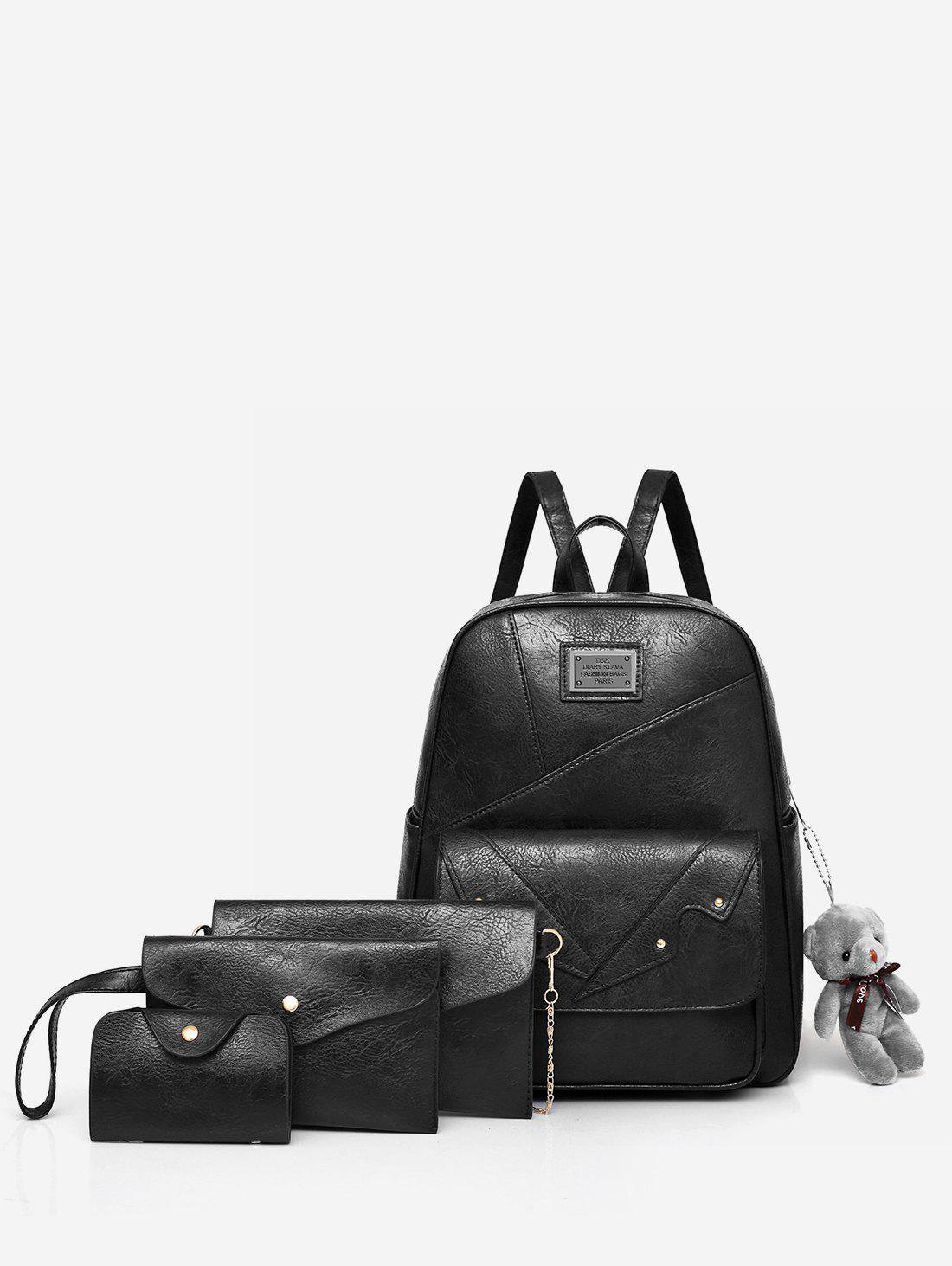Minimalist All Purpose Outdoor Trip 4 Pieces Backpack Set - BLACK
