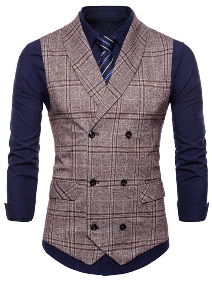 Check Double Breasted Turn Down Collar Waistcoat - COFFEE XS
