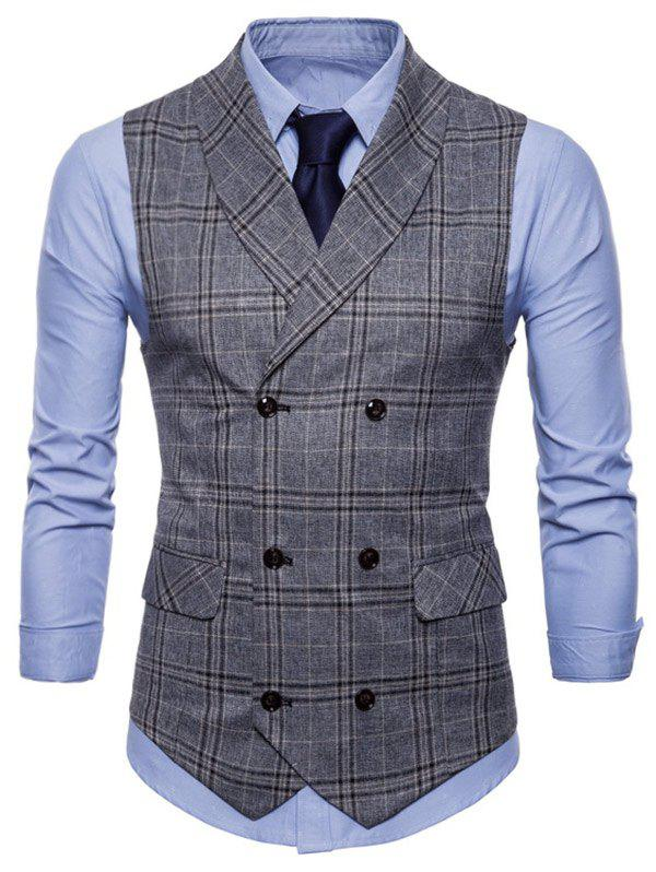 Check Double Breasted Turn Down Collar Waistcoat - GRAY XS