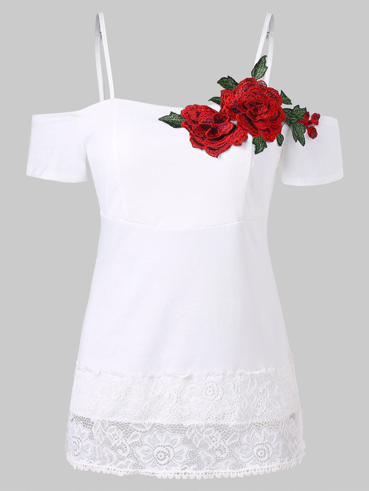 Lace Trim Spaghetti Strap Embroidered T-shirt - WHITE 2XL