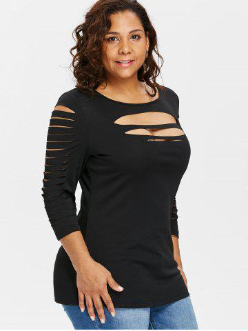 144f85c32fc Plus Size Ladder Ripped Cut Front T-shirt ...