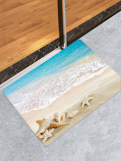 Beach Starfish Conch Pattern Flannel Skidproof Area Rug - multicolor W16 INCH * L24 INCH