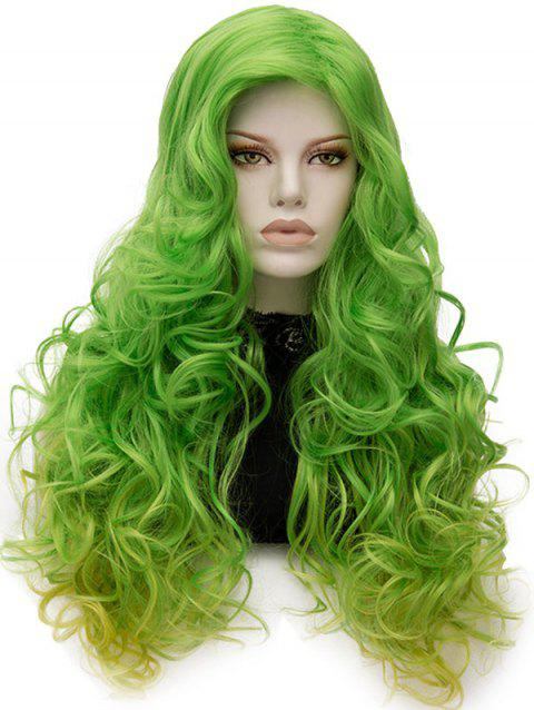 Long Inclined Fringe Colormix Curly Party Synthetic Wig - EMERALD GREEN