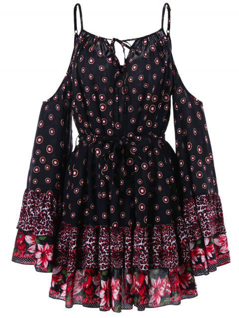 Cut Out Shoulder Printed Tunic Dress - BLACK M